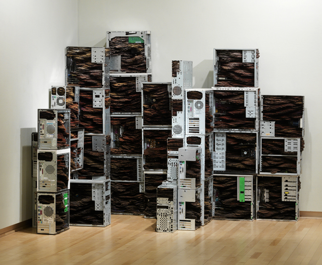 "Strata, 2011, Tar paper, pigment, computers, 72"" x 120"" x 53"" (dimensions variable based on installation"