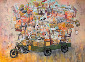 """""""Gathering Sense and Sweetness: A Homage to Rilke""""  Mixed media on canvas 6' x 8' 2013"""