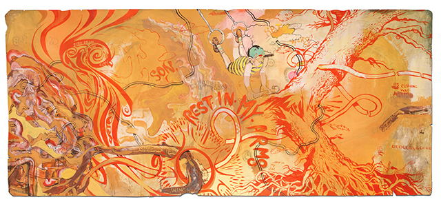 "Title: ""Son""  52"" x 120""  Acrylic, Watercolor, ink on paper 2014"