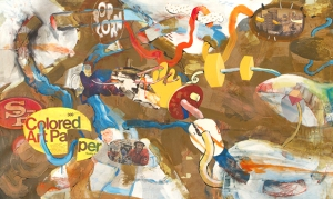 "Title: ""Brownie Beret"" 36"" x 60"" Acrylic, ink, collage on canvas 2014"
