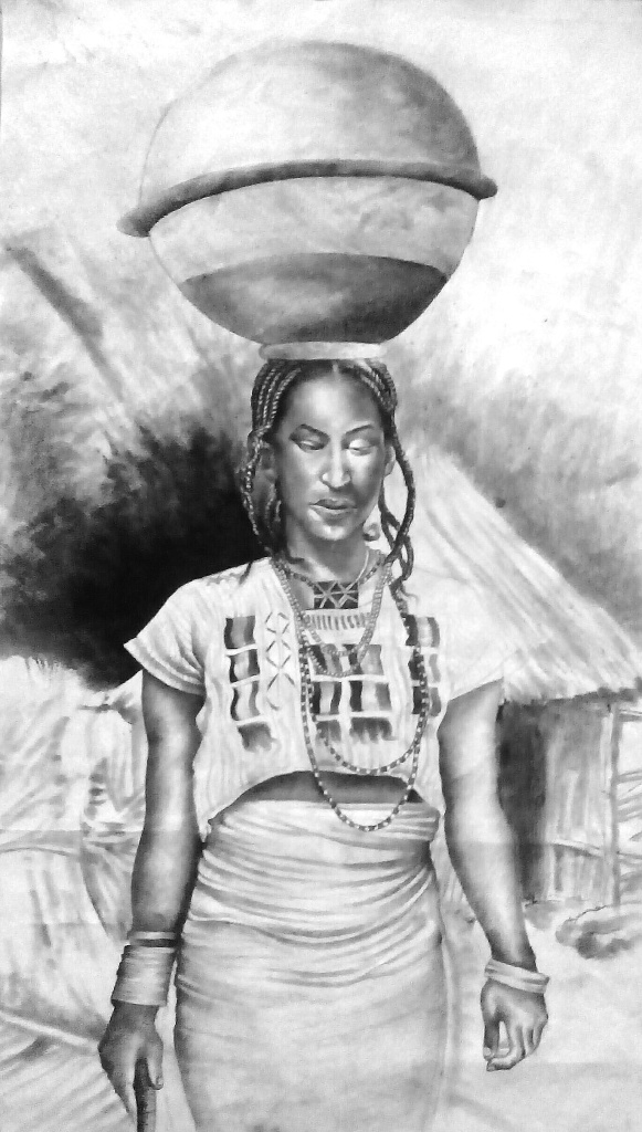 "Fulani maiden charcoal on paper 38"" by 20"" 2014"