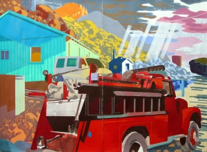 """Deep Springs Valley VII (Green Shed), mixed media on paper, 44 x 60"""", 2014"""