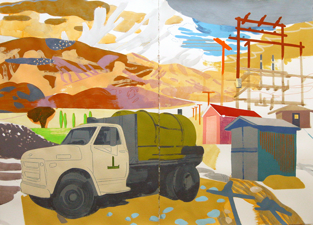 "Deep Springs Valley VIII (Water Truck), mixed media on paper, 44 x 60"", 2014"