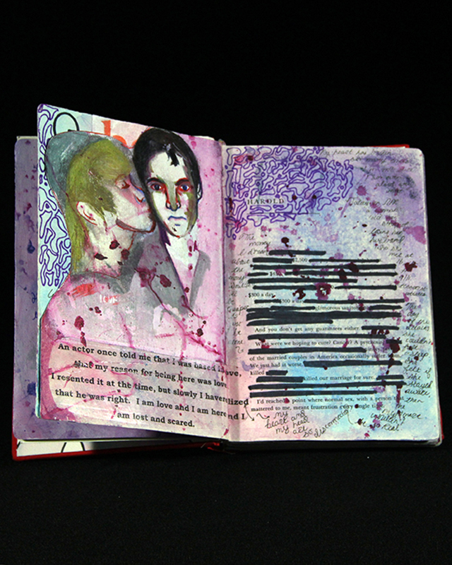 "The Couple (detail), mixed media drawings in altered book, 9""x12""x2.5"", 2014."