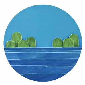 "Two Islands, Oil on Panel, 8"" round, 2014"