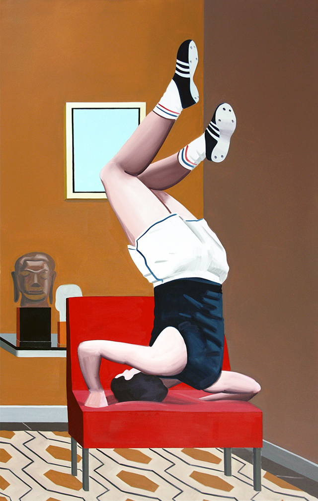 Indoor training, 2015 - Oil on canvas, 180 x 114 cm