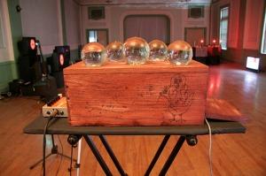 """Crystal Ball Magic Box""  Arduino Video Controller / 14"" x 7""  wood, glass  2010"