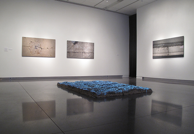 Stay on the Path (Installation View), Unfired clay, video projection, 4'' x 66'' x 102'', 2013