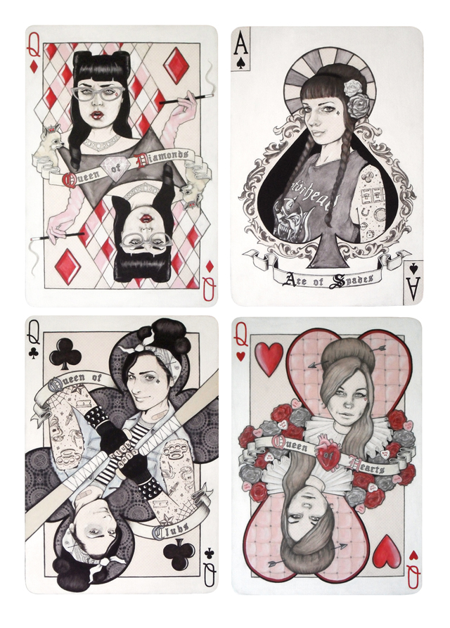 Wild Cards,' Mixed media on board, (Set of 4, 14 inches x 20 inches each), 2014