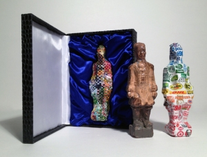 Covered Box open with Three Warriors, mixed-media, varied dimensions, 2014