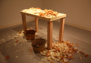 Slicing Onions Performance (the artist slices through 50 lbs. of onions) 2014