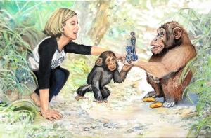 """Me Pretending to be Jane Goodall,"" oil on canvas, 3 ft. x 2 ft., 2015"