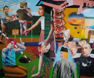 "Meat Day at House Eight 72""x84""  Oil and house paint on canvas 2014"
