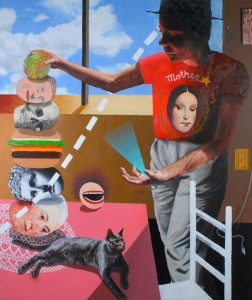 "Stacker or Mother Shirt 60""x52"" Oil and house paint on canvas 2014"
