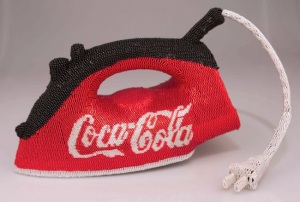 "Beads, Thread, and Coca-Cola Logo, 6"" x11""x7"", 2012"