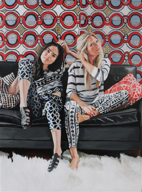 """Brynn and Kristin"" 36x48in, Oil on wood panel, 2014"