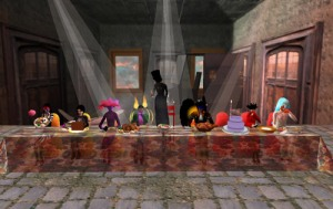 "Second Front's Second Supper, Image from Second Life, print – 48""x96"", 2007"