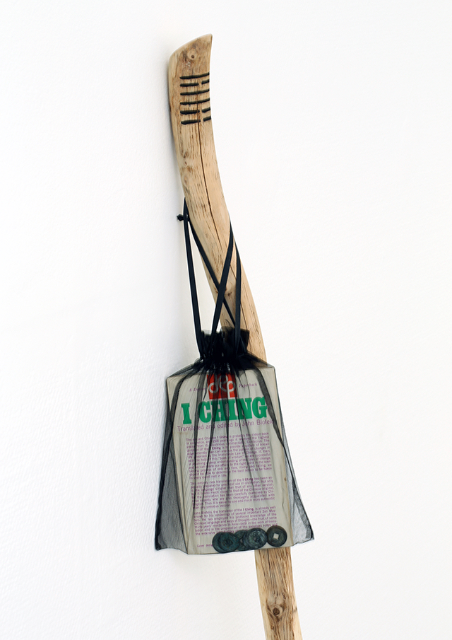 Time Traveller Bindle (detail) Wood, Mesh bag, A 1968 copy of the I-Ching & Six 18th century chinese copper coins. 15 x 142 cm, 2014