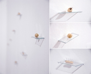 Creations, objects made of nails, eyelashes and ceramic mass on glass shelves, 2.5 x 6 x 2.5 cm each, 2013