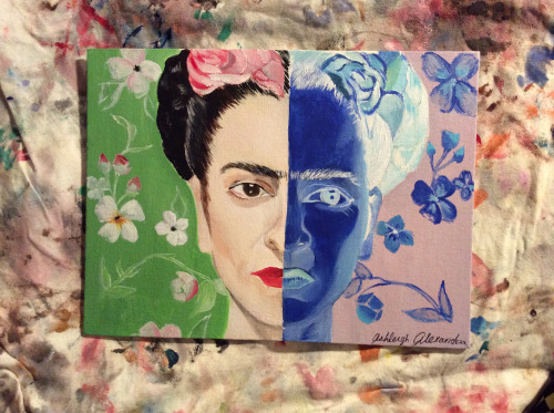 Frida, acrylic paint, 9x12