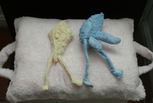 """Title: """"his and hers"""" series Pillow Forms Medium: hand sewn fabric sculpture Size: 50x38x15cm Year: 2009"""
