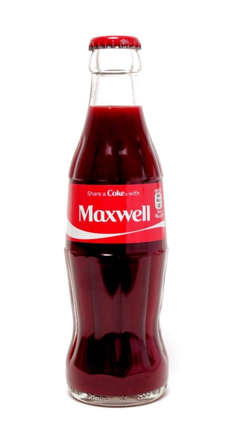 Share a Coke With Maxwell, 2014. Dimensions: 63 mm x 218 mm. Materials: glass coke bottle filled with artist's blood. Exchanging fluids with Coca-cola to 'be the brand'.