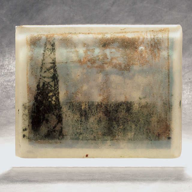 """""""Oil & Water"""" (2014), 5"""" x 7"""", glass"""