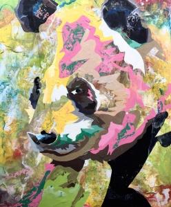 """""""Panda II"""" (2015) Enamel and acrylic on wood, 53 x 44.5 cm"""