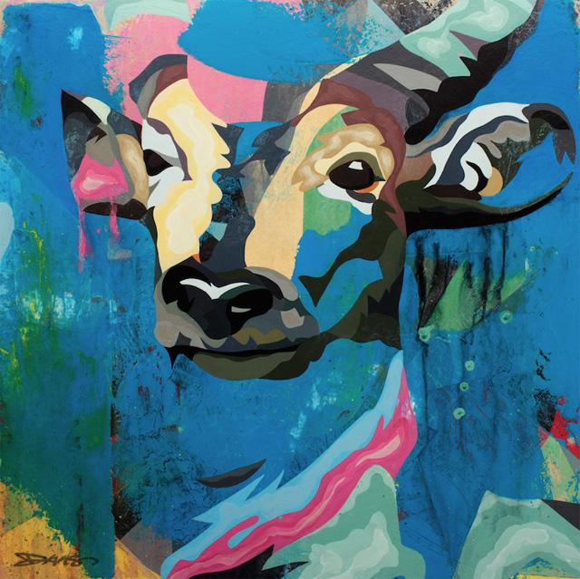 """""""Antelope"""" (2015) Acrylic on wood, 65 x 65 cm"""