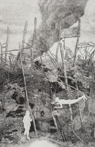"""Kamikaze  etching/engraving 15.75"""" x 24"""" 2014"""