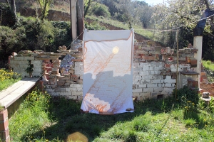 Can Serrat Light Collection clay dye on a bedsheet 81 x 48 inches 2015
