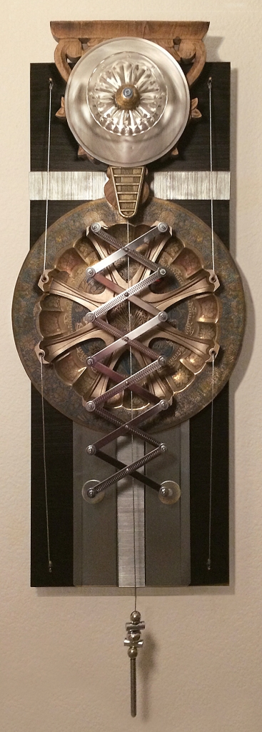 Rahu Kalam Calculator:  Wall hanging assemblage sculpture with found objects  41 x 15 x 4in - with pendant  		2014