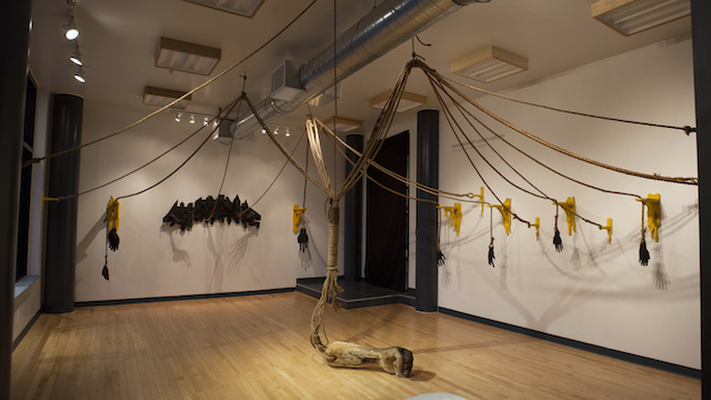 When Memory Carves Destiny Wood, rope, acrylic paint, blood, nails installation 2015
