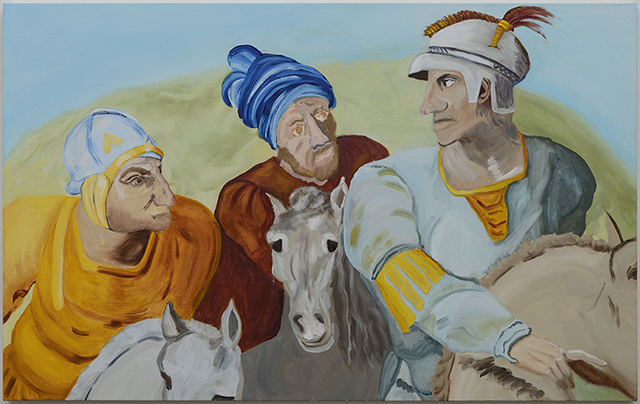"""Three Primaries"", oil on canvas, 30"" x 48"""