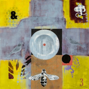 """Birds and a Bee acrylic/collage/ink transfer on cradled wood panel 36"""" x 36"""" 2014"""