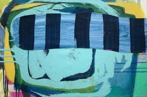 title : Nystagmus medium : mixed media on canvas size : 16 x 24 year : 2015