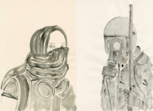 For the Love of Gas Mask_Watercolour on Paper_27.56x 39.37 inc_2014