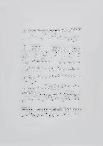 Neuma nº 9 (Chopin, Étude op. 25 nº 2). Permanent marker on pvc. 42 x 29,7 cm. 2015.