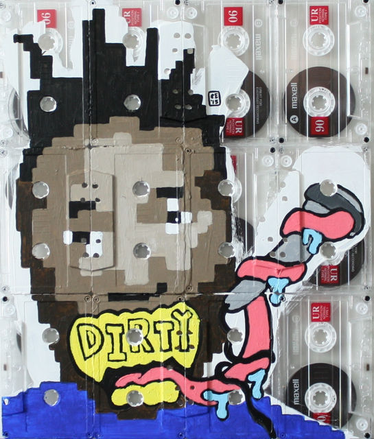 """ODB - Snakes, Acrylic on Cassette Tapes, 10"""" x 12"""", 2015"""