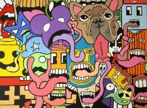 """Tongue Tied, Acrylic, 40"""" x 30"""", 2014"""