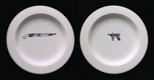 1990's Tragedy Commemorative Series: Columbine, Eric and Dylan, porcelain, slip, 12x26x2inxhes, 2014