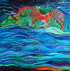 Bioluminescence. Oil on Canvas. 80 x 80 cm. 2014. Private Colection