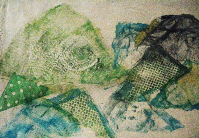 """""""Cerros después de la lluvia"""" xilografia on canvas. 30 x 20 cm. 2010"""