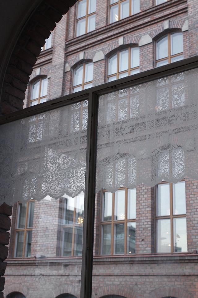 Curtain, sour milk on window, 143 x 50, 2015