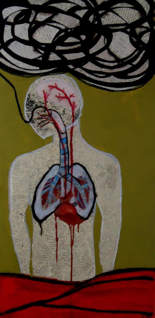 """El cuerpo sufre"" collage, graphite, acrylic paint. 60 x 100 cm. 2011"