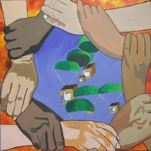 """Charity"". Acrylic on Canvas. Dec 2014 60cm x 60cm"