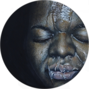 "Cece Oil on wood 15"" round 2015"