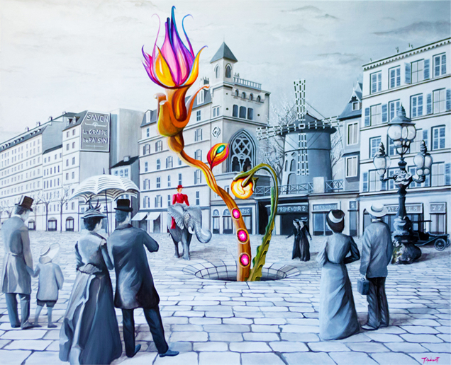 Elephant ride Through Montmartre   Acrylic on linen smooth canvas   80 x 100 cm   2015