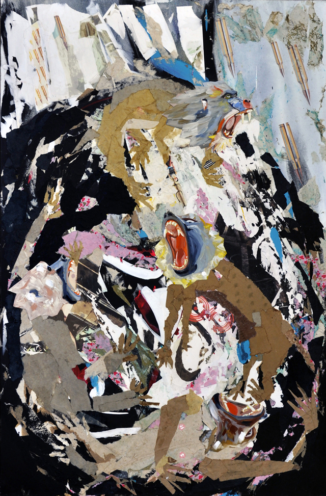"The End is Nigh, Collage and Oil on Canvas 44"" x 66"", 2015"