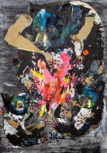 """Tikba Nita, Collage and Oil on Panel Board, 44"""" x 66"""", 2014"""